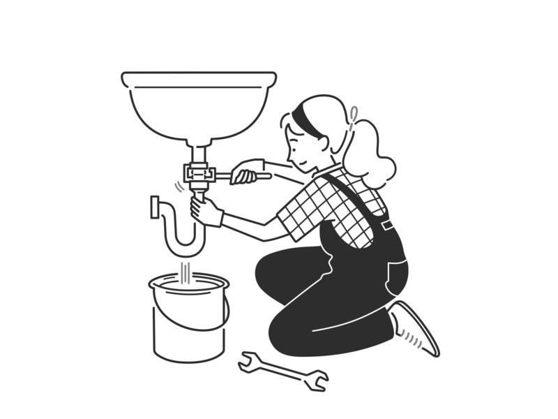 handyman ui ux product design web design simple design bathroom home repair fix tools handyman girl character design character black and white monochrome minimal line illustration comic