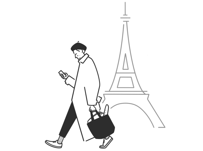 frenchman doodle ui ux product design web design simple design paris french man character design character black and white monochrome minimal line illustration comic