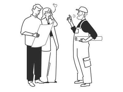 handyman, real estate agent and a young couple 🏡 home vector product design web design ui ux cartoon real estate agent handyman couple boy girl character design character black and white monochrome minimal line illustration comic