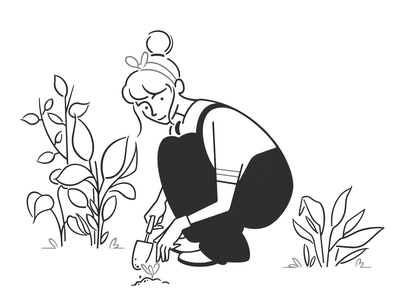 gardener product design web design ui ux flowers plants handyman garden simple design cartoon girl character design character black and white monochrome minimal line illustration comic gardener