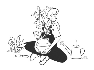 gardener simple design handyman product design web design ui ux concept girl character design character black and white monochrome minimal line comic flowers plants illustraion garden gardener