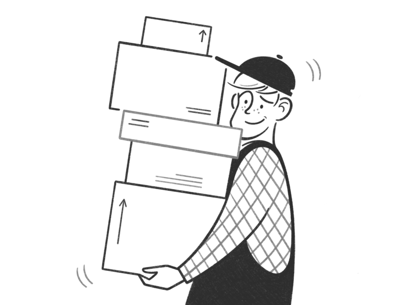 moving product design web design ui ux boy character design character black and white illustration monochrome minimal line comic handyman worker boxes movers home moving