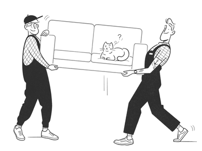 moving cat concept doodle product design web design ui ux simple cartoon character design character black and white illustration monochrome minimal comic line movers home moving