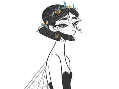 pretty fly color doodle minimalism cute drawthisinyourstyle concept art concept cartoon simple girl illustration monochrome minimal character design character line comic