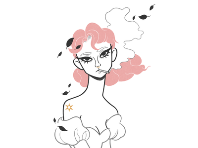 pinky swear product design web design ui ux cigarette flowers drawthisinyourstyle color concept cartoon simple girl character design character black and white illustration monochrome minimal line comic