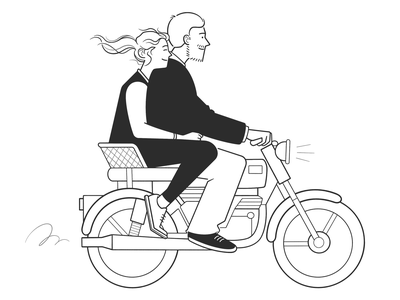journey ride journey motorcycle cute product design web design ui ux couple cartoon simple black and white illustration character design monochrome minimal line comic