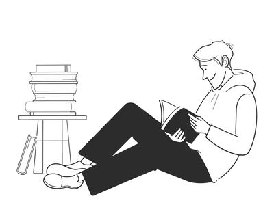 time to relax read boy product design web design ui ux book home cartoon simple character design black and white illustration monochrome minimal line comic relax