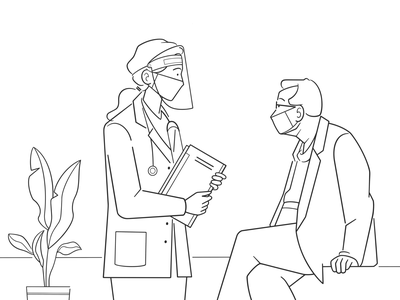 doctor and patient product design web design ui cartoon simple character design black and white illustration monochrome minimal line comic mask covid virus patient