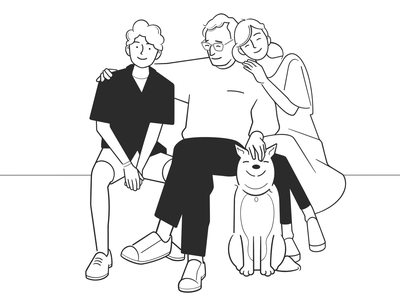 family product design web design ui ux cute love cartoon simple character design black and white illustration monochrome minimal line comic dog family
