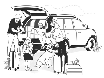 family trip drawing design dog family journey trip product design web design ux ui simple cartoon character design black and white comic line minimal monochrome illustration