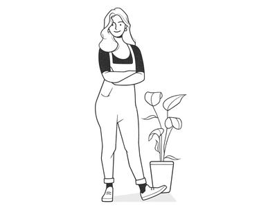 girl 🌿 drawing pencil home plants cartoon ui ux product design web design girl character character design black and white illustration monochrome minimal line comic