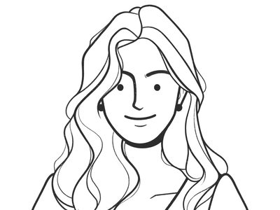 Robe Curls pencil drawing hair beauty product design web design ui ux cartoon girl character design black and white simple illustration monochrome minimal line comic