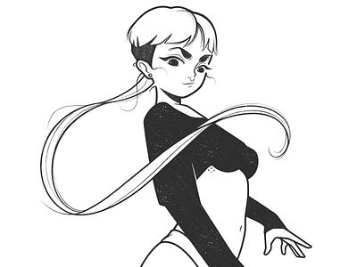 girl body girl character drawing fantasy magic cartoon simple character design black and white illustration monochrome minimal line comic