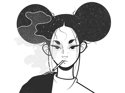 girl cigarette procreate drawing pencil cartoon simple character character design comic black and white illustration monochrome minimal line