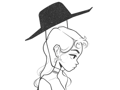 girl dtiys challenge portrait cowgirl character concept procreate pencil draw drawing cartoon character design black and white illustration monochrome minimal line comic