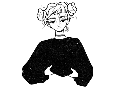 girl concept drawing character cartoon simple portrait girl character design black and white illustration monochrome minimal line comic