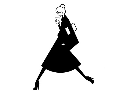 out to work ipad pro heels girl fashion character design character procreate monochrome line minimal illustration comic black and white black apple pencil