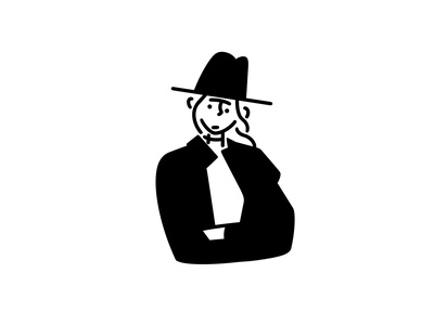 woman with a hat girl character design character monochrome minimal line illustration comic black and white black