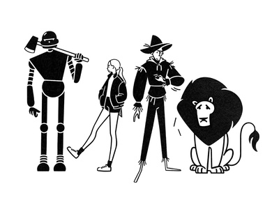 the wizard of oz fairytale cartoon wizard of oz design character design character monochrome minimal line illustration comic black and white black