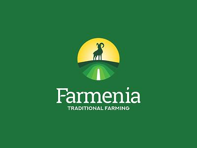 Farmenia Logo design icon creative armenia fields farming branding goat logo animal goat farm