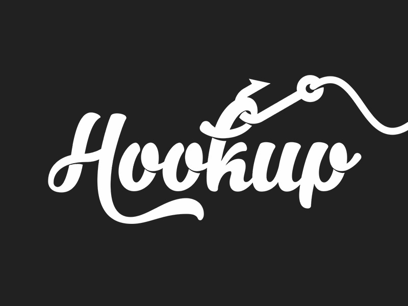 Hook Up Logo hookup hook handwritten retro logo white negative space black