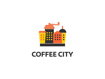 Coffee City Logo simple building restaurant logo food logo food truck city logo clever logo coffeeshop logo for sale coffee logo coffee cup coffee creative illustration typography branding logo
