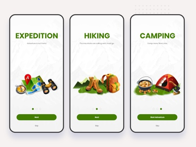 Travel Hiking Onboarding App travel iphone hiking daily creative challenge camping adobe xd
