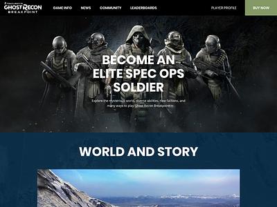Ghost recon Breakpoint - Website Redesign affinitydesigner pc ghost recon breakpoint gaming dark redesign