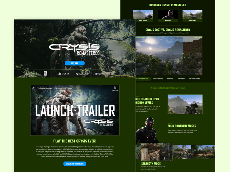 Crysis Remaster - Website Remake crysis gaming webdesign redesign affinitydesigner