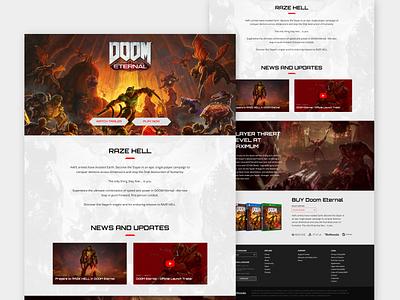 Doom Eternal - Website Remake eternal doom gaming website whitetheme webdesign redesign affinitydesigner