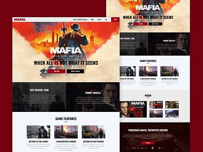 Mafia: Definitive Edition - Website Remake gaming remake web design redesign affinitydesigner