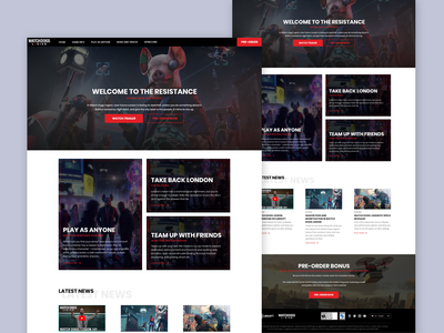 Watch Dogs Legion - Website Remake watch dogs legion gaming remake web design redesign affinitydesigner