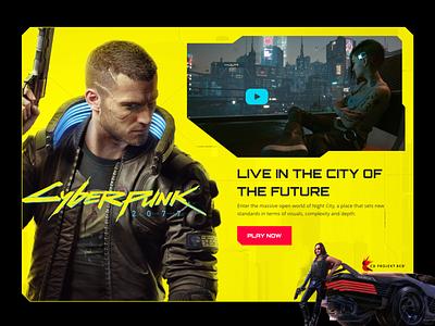 Cyberpunk 2077 Landing Page redesign remake affinitydesigner game art gaming landing page cyberpunk2077