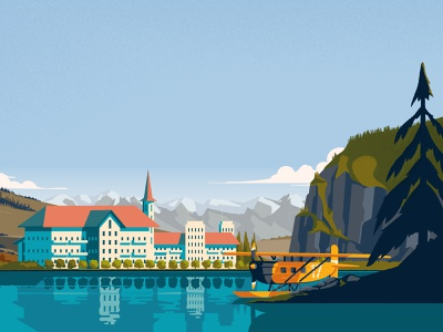 Over the Alps vintage graphic design illustrator travel poster videogame illustration design illustration art illustration environment art