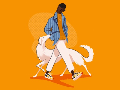 Out for a walk autumn fashion illustration menswear fashion walkies dog graphic design digitalart editorial character art character design editorial art photoshop design illustrator illustration