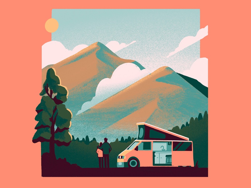 Vanlife travel vanlife van character design environment art digitalart editorial graphic design editorial art photoshop design illustrator illustration