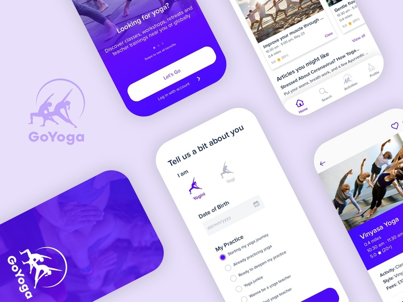 GoYoga design app ux ui mobile iconography colors clean
