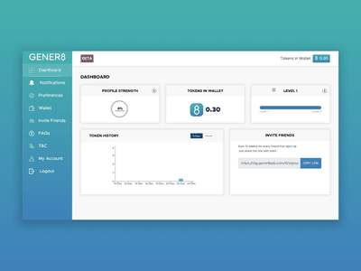 Gener8 Dashboard Artboard plugin design website web app ux ui