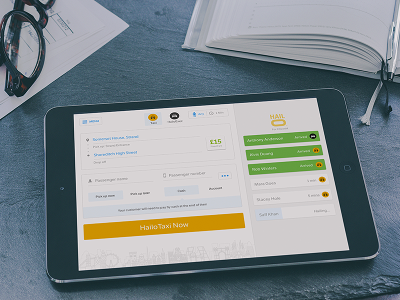 Hailo Hub tablet ui design taxi ipad hailo business web app responsive