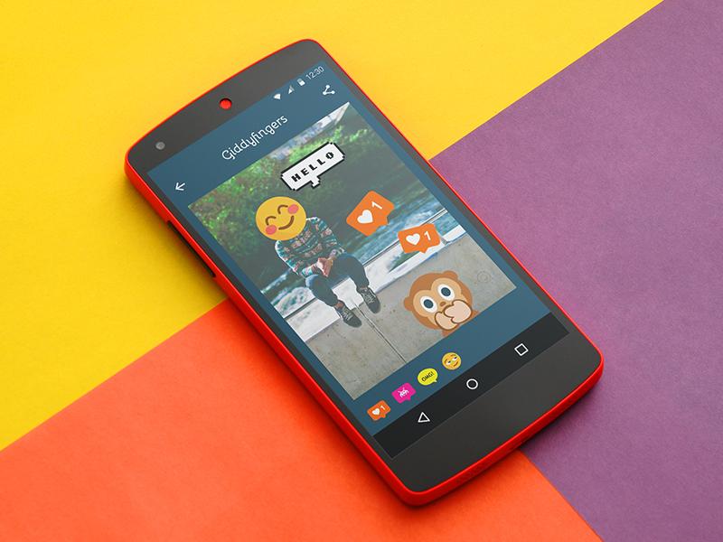 Giddyfingers Android App stickers design ui mobile app giddyfingers android