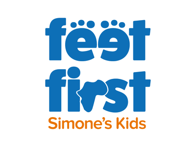 Feet First: Simone's Kids organization nonprofit branding campaign typography mark logo
