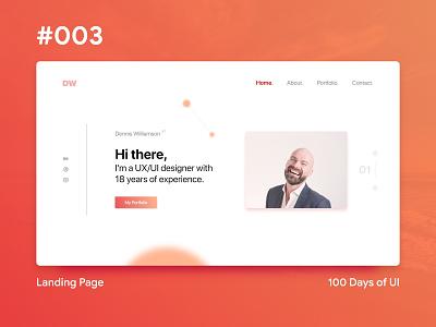 100 Days of UI - #3 Landing Page ux ui web gradient design 100 day ui challenge