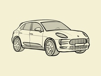 Porsche Macan Outlines Drawing