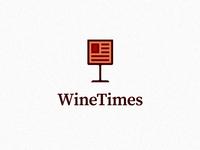 Wine + Newspaper - logo graphic symbol