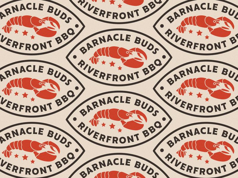 ---8/52--- Barnacle Buds restaurant pattern logo retro branding badge type illustration typography vector design