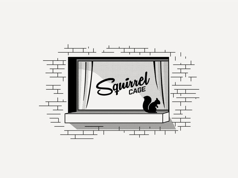 ---11/52--- Squirrel Cage signage sign squirrel dive bar retro type illustration typography vector design