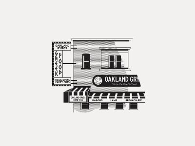 ---15/52--- Oakland Gyros signage sign storefront line art restaurant retro illustration vector design