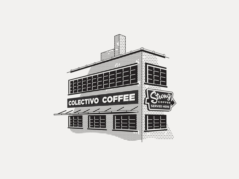 ---16/52--- Colectivo Coffee signage sign coffee vintage retro illustration vector design