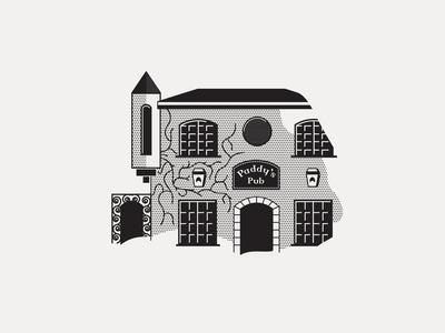 ---18/52--- Paddy's Pub industrial black and white halftone monoline irish dive bar pub retro illustration vector design