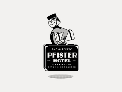 ---22/52--- The Pfister Hotel black and white vintage hotel typography type retro illustration vector design